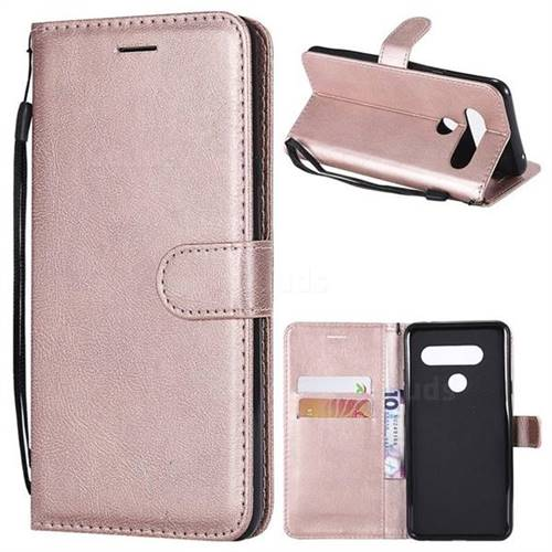 Retro Greek Classic Smooth PU Leather Wallet Phone Case for LG V40 ThinQ - Rose Gold