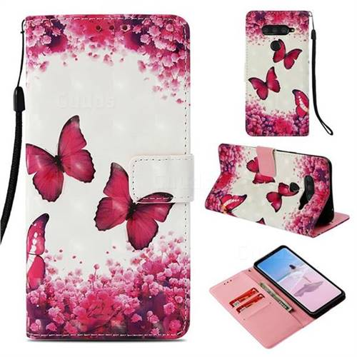 Rose Butterfly 3D Painted Leather Wallet Case for LG V40 ThinQ