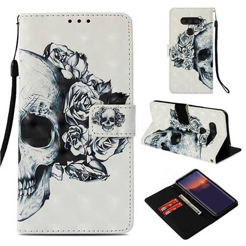 Skull Flower 3D Painted Leather Wallet Case for LG V40 ThinQ