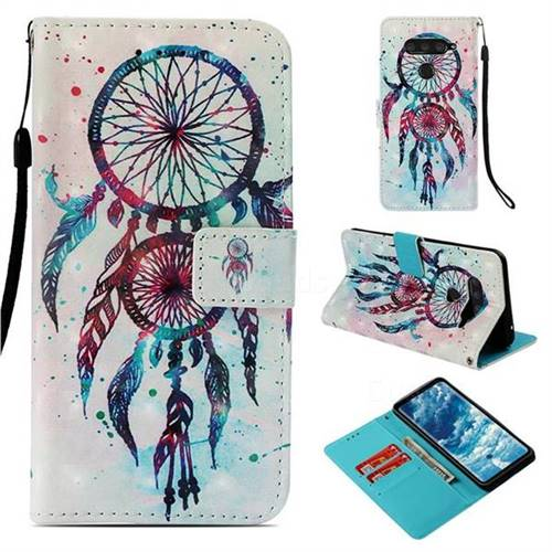 ColorDrops Wind Chimes 3D Painted Leather Wallet Case for LG V40 ThinQ