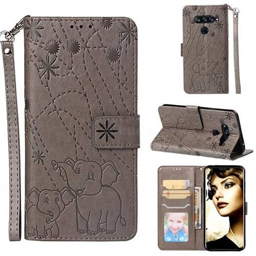 Embossing Fireworks Elephant Leather Wallet Case for LG V40 ThinQ - Gray