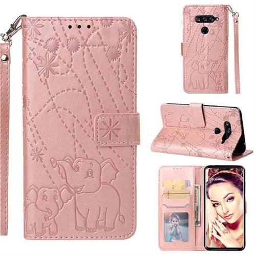 Embossing Fireworks Elephant Leather Wallet Case for LG V40 ThinQ - Rose Gold