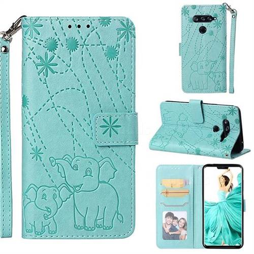 Embossing Fireworks Elephant Leather Wallet Case for LG V40 ThinQ - Green