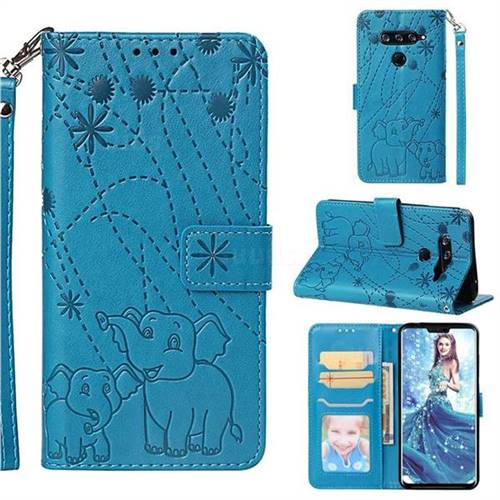 Embossing Fireworks Elephant Leather Wallet Case for LG V40 ThinQ - Blue