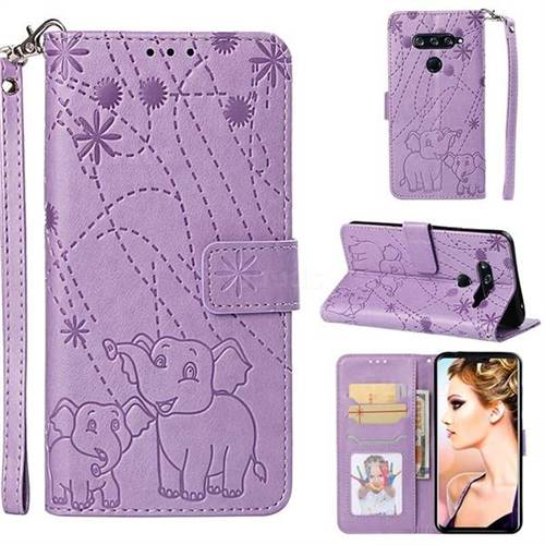 Embossing Fireworks Elephant Leather Wallet Case for LG V40 ThinQ - Purple