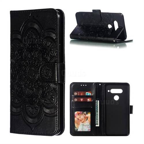 Intricate Embossing Datura Solar Leather Wallet Case for LG V40 ThinQ - Black