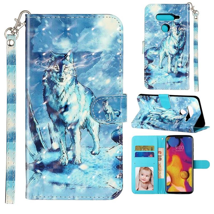 Snow Wolf 3D Leather Phone Holster Wallet Case for LG V40 ThinQ