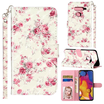 Rambler Rose Flower 3D Leather Phone Holster Wallet Case for LG V40 ThinQ