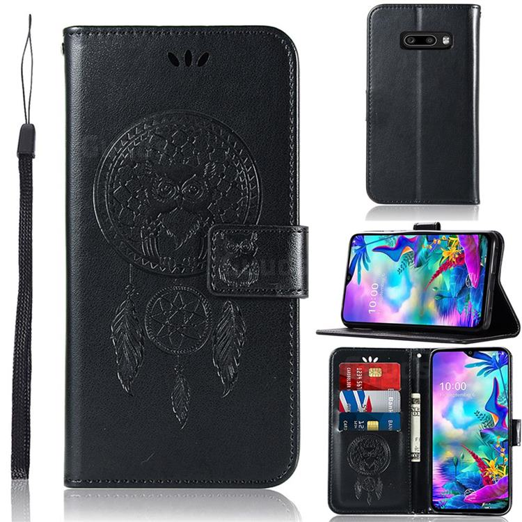 Intricate Embossing Owl Campanula Leather Wallet Case for LG V50s ThinQ 5G - Black