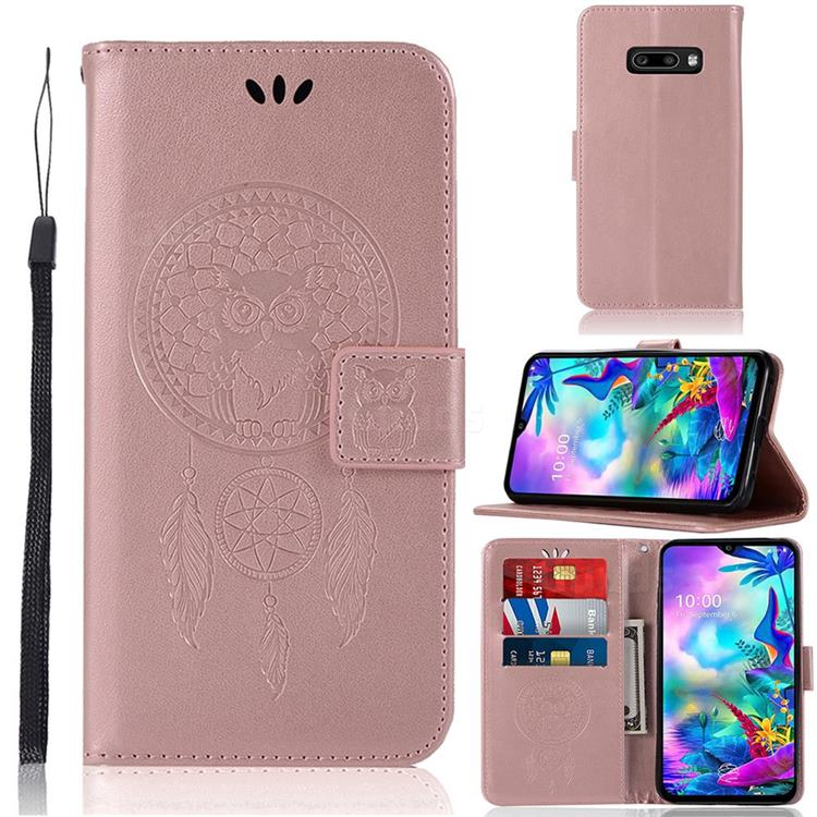 Intricate Embossing Owl Campanula Leather Wallet Case for LG V50s ThinQ 5G - Rose Gold