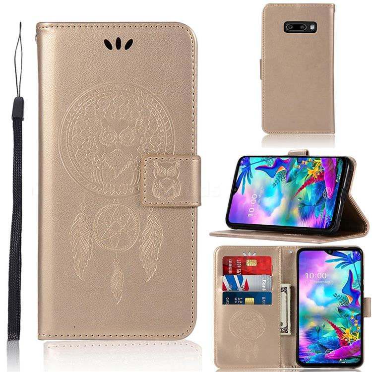 Intricate Embossing Owl Campanula Leather Wallet Case for LG V50s ThinQ 5G - Champagne