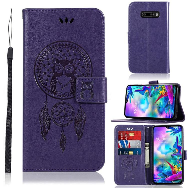 Intricate Embossing Owl Campanula Leather Wallet Case for LG V50s ThinQ 5G - Purple
