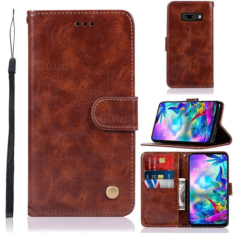 Luxury Retro Leather Wallet Case for LG V50s ThinQ 5G - Brown