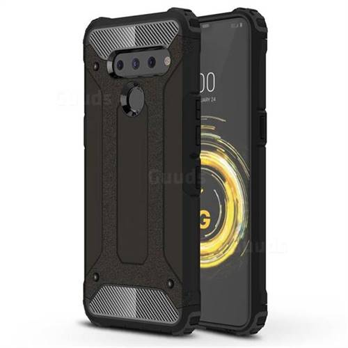 King Kong Armor Premium Shockproof Dual Layer Rugged Hard Cover for LG V50 ThinQ 5G - Black Gold