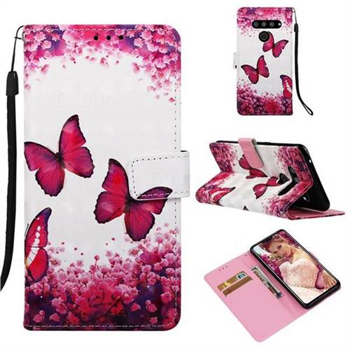 Rose Butterfly 3D Painted Leather Wallet Case for LG V50 ThinQ 5G