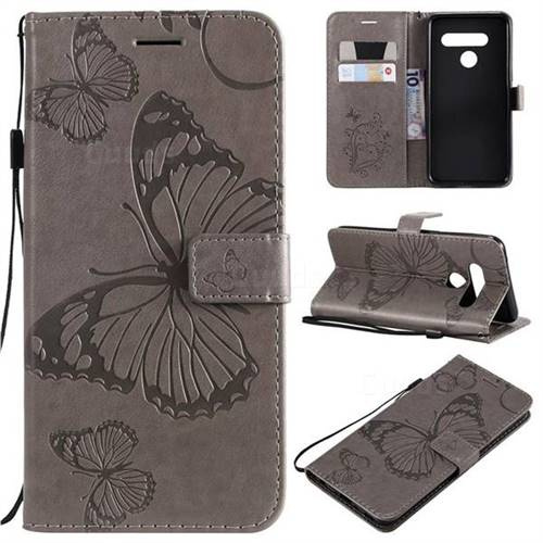 Embossing 3D Butterfly Leather Wallet Case for LG V50 ThinQ 5G - Gray