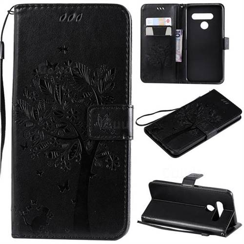 Embossing Butterfly Tree Leather Wallet Case for LG V50 ThinQ 5G - Black