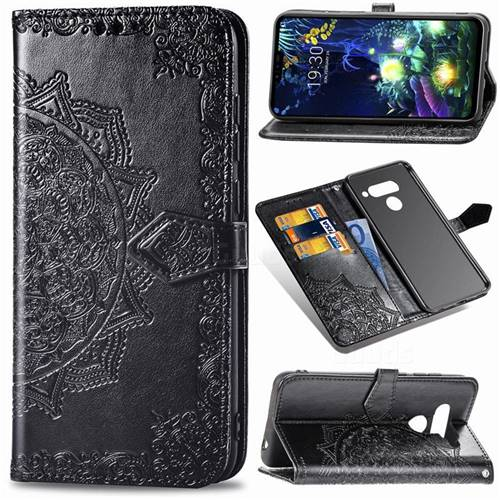 Embossing Imprint Mandala Flower Leather Wallet Case for LG V50 ThinQ 5G - Black