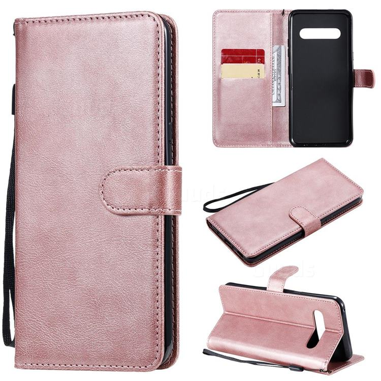 Retro Greek Classic Smooth PU Leather Wallet Phone Case for LG V60 ThinQ 5G - Rose Gold