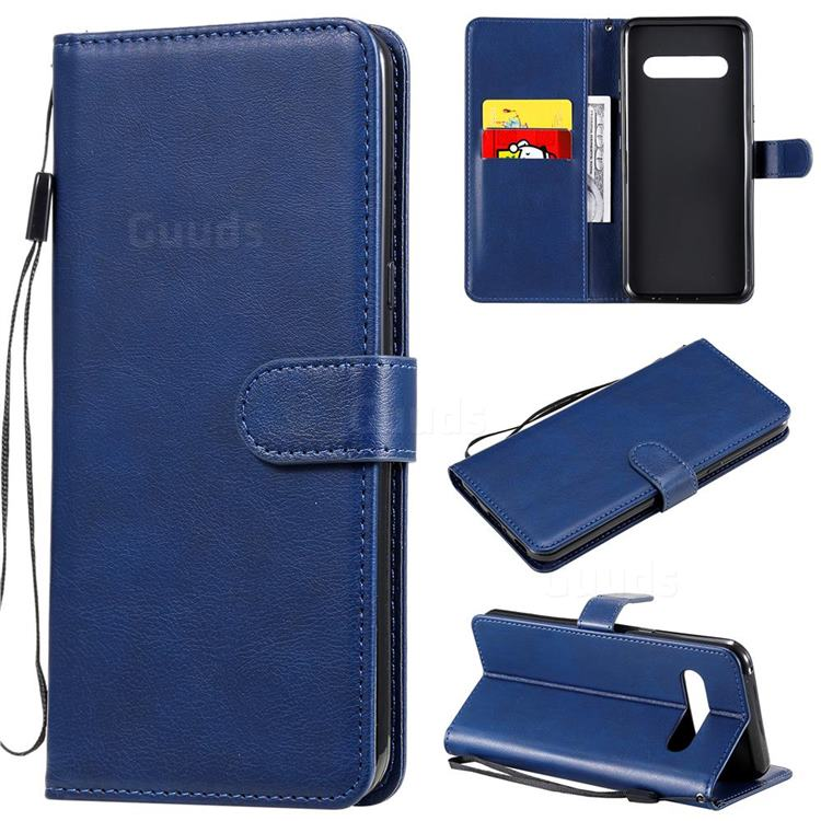 Retro Greek Classic Smooth PU Leather Wallet Phone Case for LG V60 ThinQ 5G - Blue