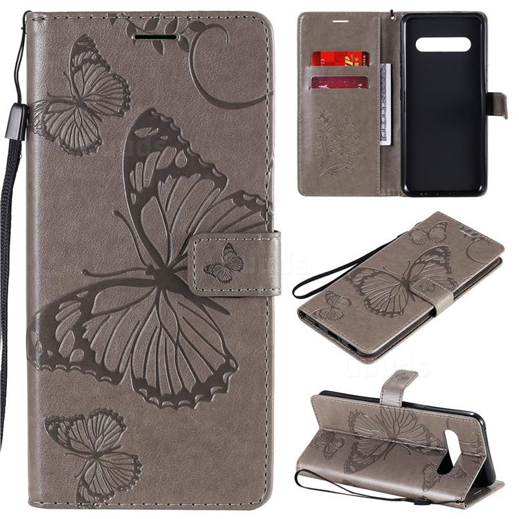 Embossing 3D Butterfly Leather Wallet Case for LG V60 ThinQ 5G - Gray