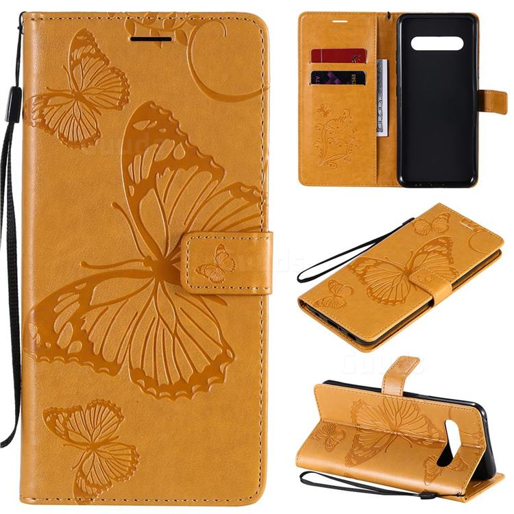 Embossing 3D Butterfly Leather Wallet Case for LG V60 ThinQ 5G - Yellow