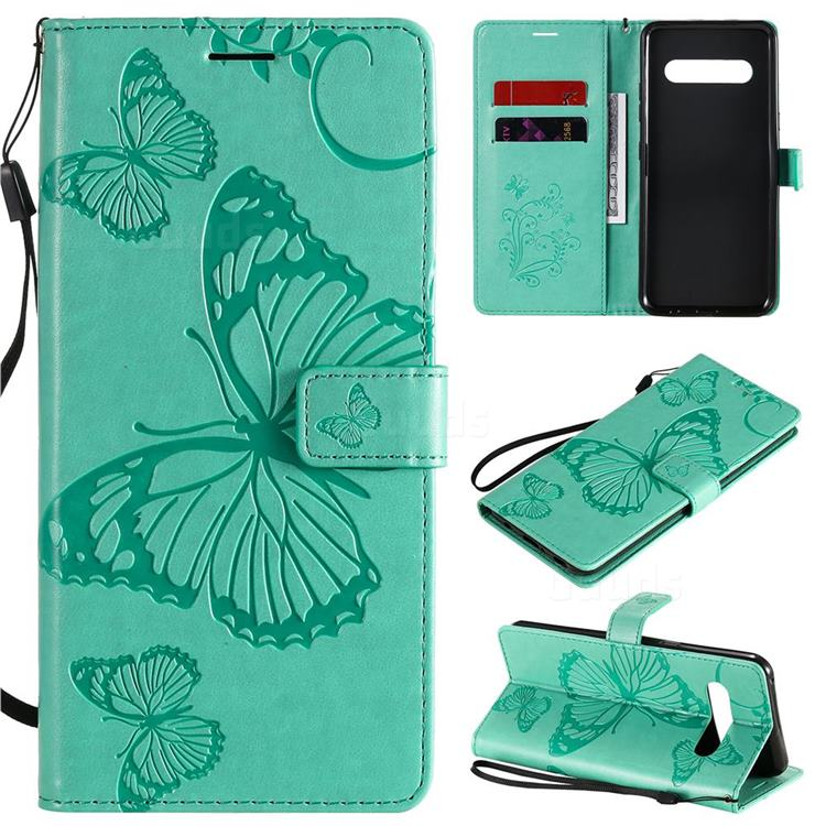 Embossing 3D Butterfly Leather Wallet Case for LG V60 ThinQ 5G - Green