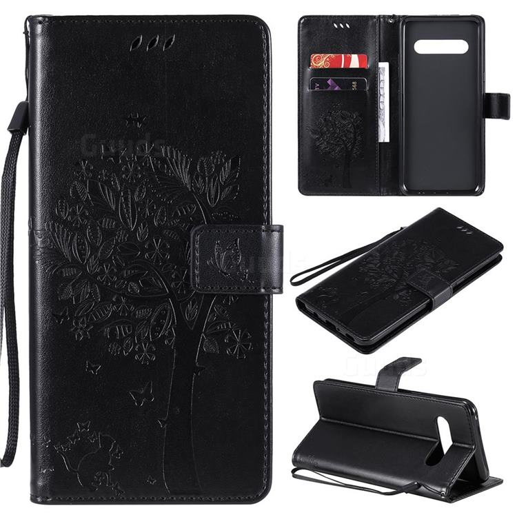 Embossing Butterfly Tree Leather Wallet Case for LG V60 ThinQ 5G - Black