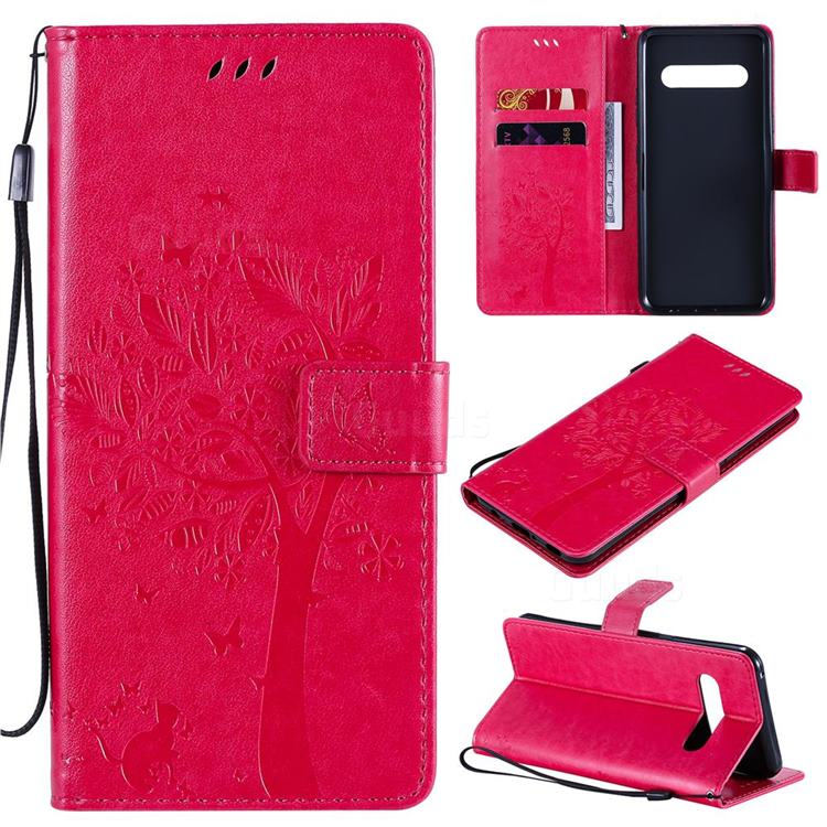 Embossing Butterfly Tree Leather Wallet Case for LG V60 ThinQ 5G - Rose