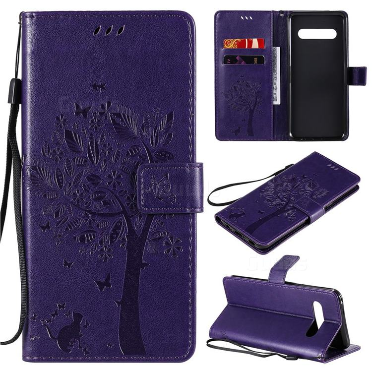 Embossing Butterfly Tree Leather Wallet Case for LG V60 ThinQ 5G - Purple