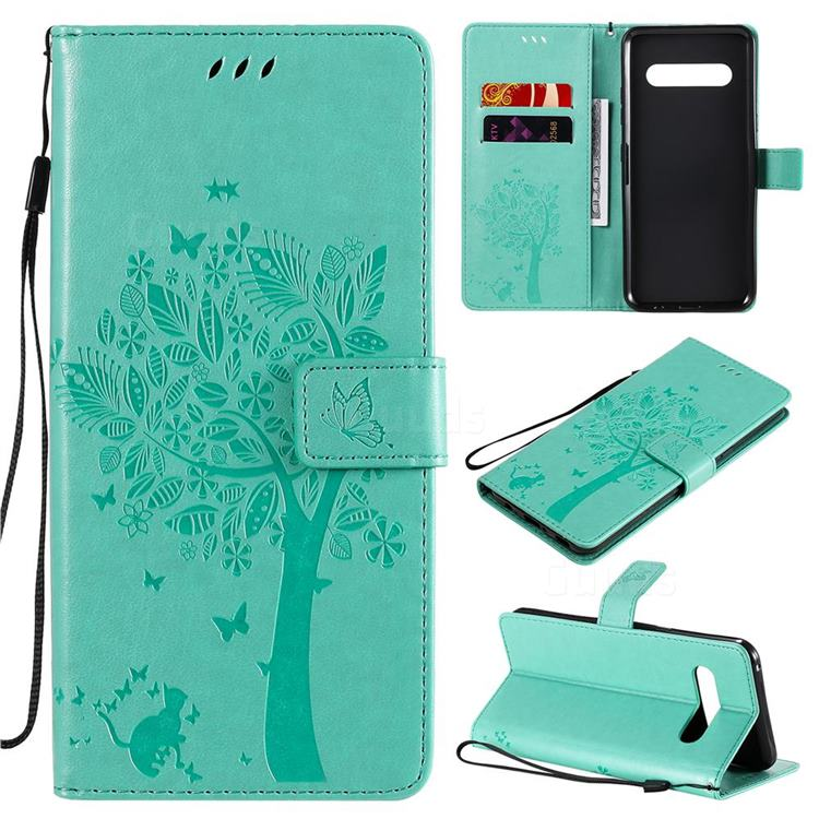 Embossing Butterfly Tree Leather Wallet Case for LG V60 ThinQ 5G - Cyan