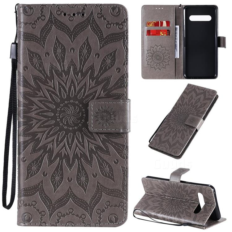 Embossing Sunflower Leather Wallet Case for LG V60 ThinQ 5G - Gray