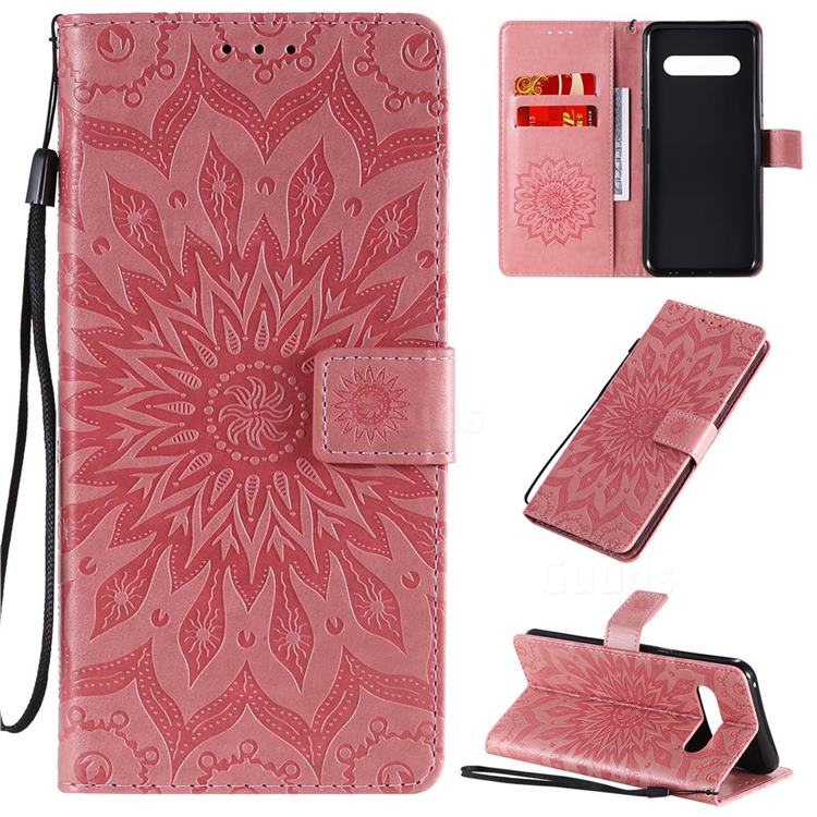 Embossing Sunflower Leather Wallet Case for LG V60 ThinQ 5G - Pink