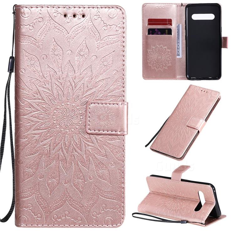 Embossing Sunflower Leather Wallet Case for LG V60 ThinQ 5G - Rose Gold