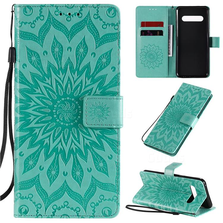 Embossing Sunflower Leather Wallet Case for LG V60 ThinQ 5G - Green