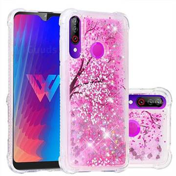 Pink Cherry Blossom Dynamic Liquid Glitter Sand Quicksand Star TPU Case for LG W30
