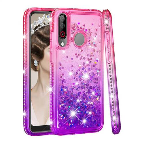 Diamond Frame Liquid Glitter Quicksand Sequins Phone Case for LG W30 - Pink Purple
