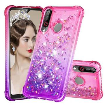 Rainbow Gradient Liquid Glitter Quicksand Sequins Phone Case for LG W30 - Pink Purple