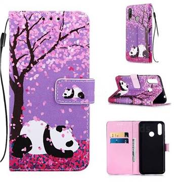 Cherry Blossom Panda Matte Leather Wallet Phone Case for LG W30