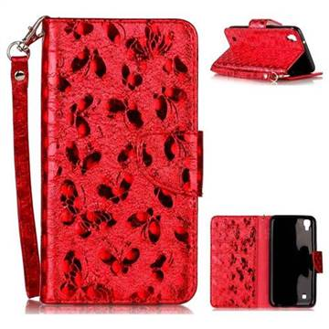 Luxury Laser Butterfly Optical Maser Leather Wallet Case for LG X Power LS755 K220DS K220 US610 K450 - Red