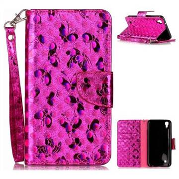 Luxury Laser Butterfly Optical Maser Leather Wallet Case for LG X Power LS755 K220DS K220 US610 K450 - Rose