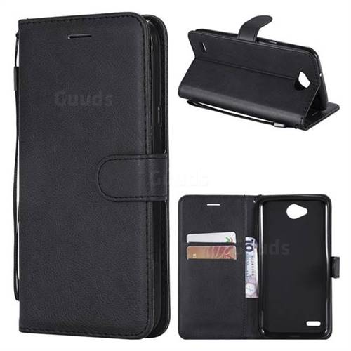 Retro Greek Classic Smooth PU Leather Wallet Phone Case for LG X Power2 - Black