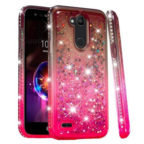 Diamond Frame Liquid Glitter Quicksand Sequins Phone Case for LG X Power 3 - Gray Pink
