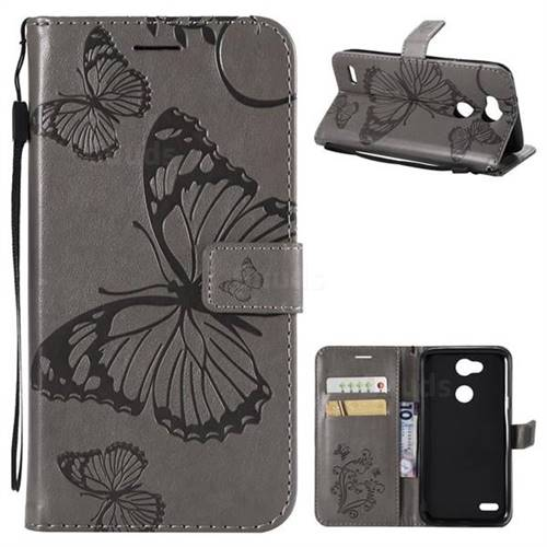 Embossing 3D Butterfly Leather Wallet Case for LG X Power 3 - Gray