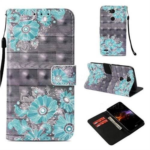 Blue Flower 3D Painted Leather Wallet Case for LG X Power 3