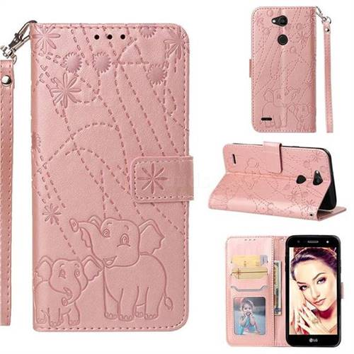 Embossing Fireworks Elephant Leather Wallet Case for LG X Power 3 - Rose Gold