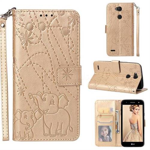 Embossing Fireworks Elephant Leather Wallet Case for LG X Power 3 - Golden