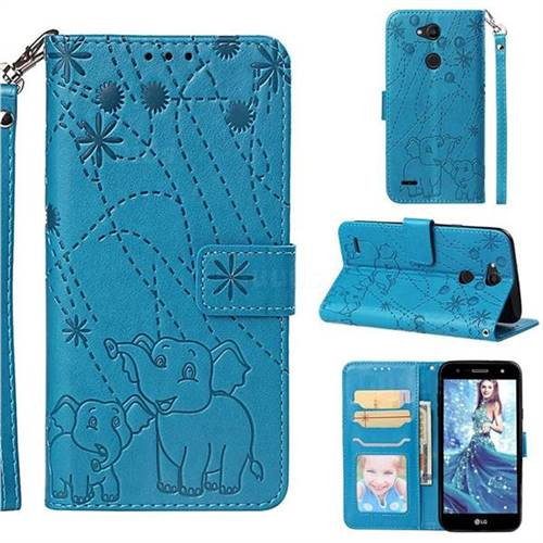 Embossing Fireworks Elephant Leather Wallet Case for LG X Power 3 - Blue