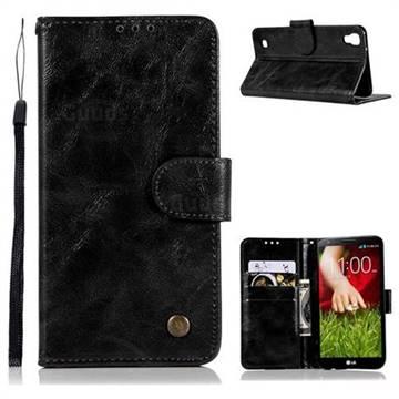Luxury Retro Leather Wallet Case for LG X Style K200DS LGK200DSK L56VL - Black