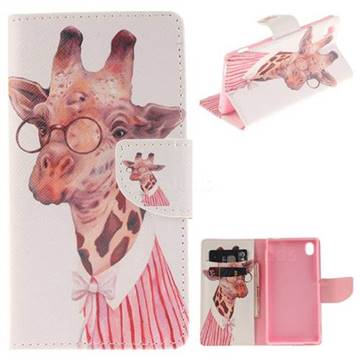 Pink Giraffe PU Leather Wallet Case for Sony Xperia M4 Aqua E2303 E2333 E2353